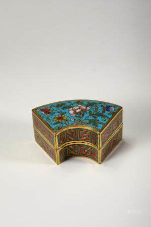 Chinese Cloisonne Fan Shape Box, Qing Dynasty