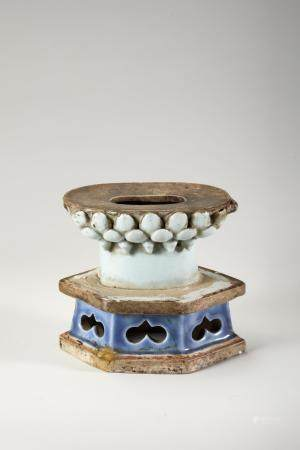 Chinese Porcelain Lotus Stand, Late Yuan Dynasty