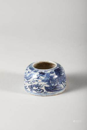 Chinese Blue White Phoenix Porcelain Water Coupe,