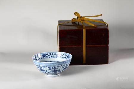 Chinese Blue White Porcelain Bowl, Qing Dynasty