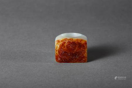 Chinese White Jade Thumb Ring, Qing Dynasty
