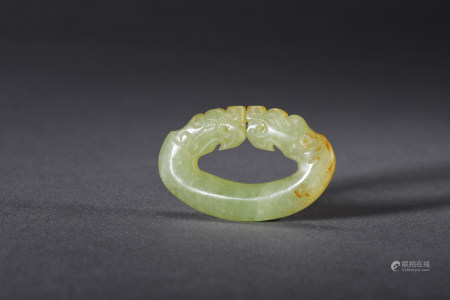 Chinese Yellow Jade Dragon Pendant, Ming Dynasty