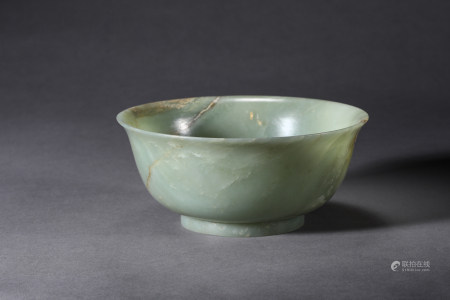 Chinese Celadon Jade Bowl, Qing Dynasty