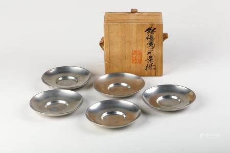 Japanese Set Of 5 Pewter Tea Saucers