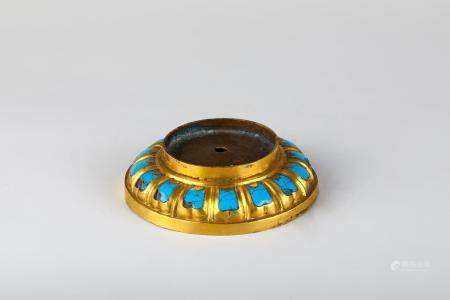 Chinese Gilt Copper Enameled Lotus Stand
