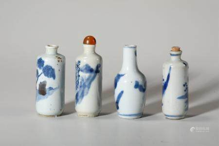 Chinese Set Of 4 Blue White Snuff Bottles