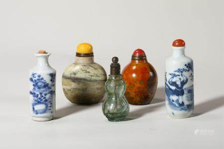 Chinese Set Of 5 Snuff Bottles