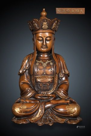 Chinese Bronze Gold Gilded Sitting Statue