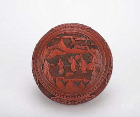 清 剔红山水人物首饰盒