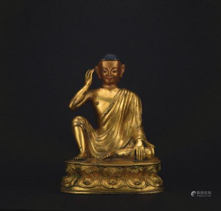 清 铜鎏金上师佛