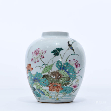 A Well Painted Famille Rose Jar