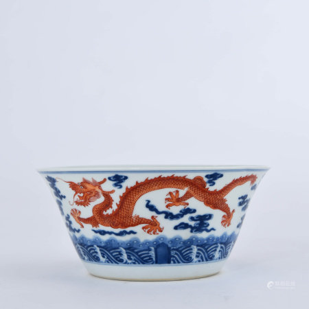 A Blue and White Iron Red Dragon Bowl