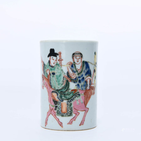 A Famille rose  Figures Brushpot
