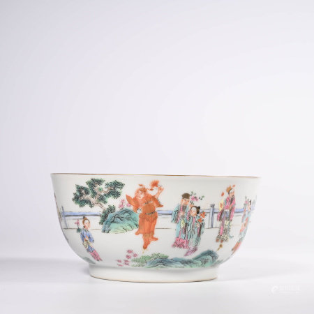 A Famille Rose Figure Bowl