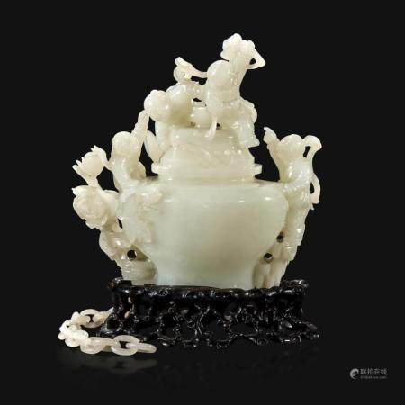 """A Chinese carved white jade """"Boys"""" vase and cover, Qing Dynasty, 18th/early 19th Century"""