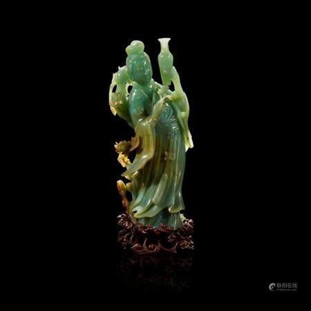 A Chinese carved jadeite meiren,