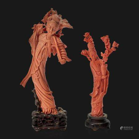 Two Chinese carved coral meiren,