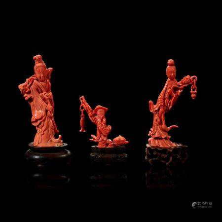 Three Chinese carved coral figural groups, meiren and peach, man and basket, meiren and flower,