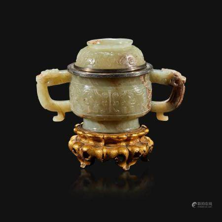 A Chinese pale celadon and brown jade censer and cover, mounts by Edward I. Farmer, New York, the jade late Ming/early Qing Dynasty