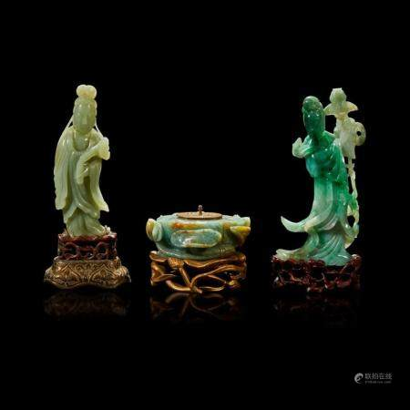A Chinese carved jadeite meiren, a carved celadon jade meiren, and a carved jadeite lotus pod-form inkwell,