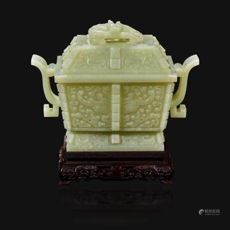 A Chinese carved pale celadon jade censer and cover, Fang Ding,