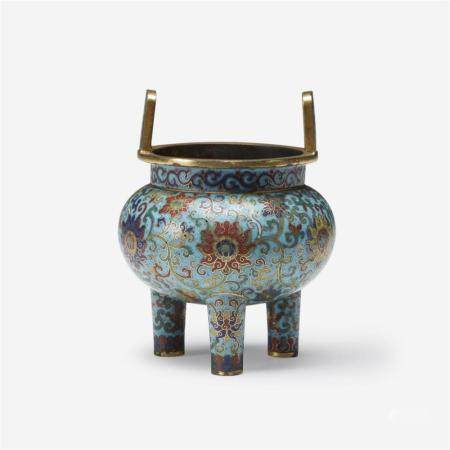 A Chinese cloisonné enamel tripod censer, Qianlong mark and possibly of the period