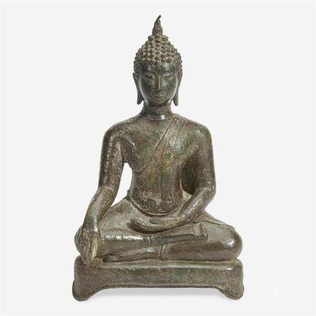 A Thai bronze seated Buddha, 16th Century