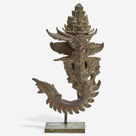 A Khmer bronze palanquin hook with later stand, The hook 12th/13th Century