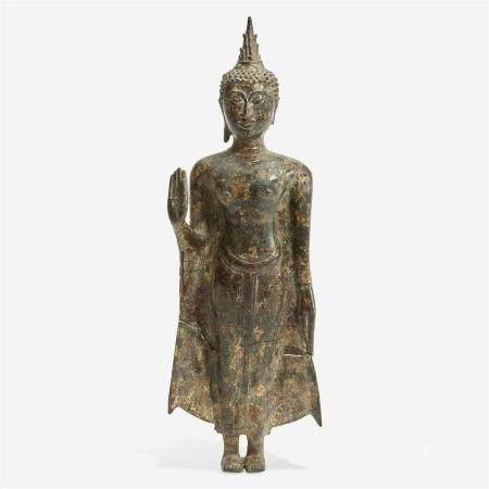 A Thai gilt bronze standing Buddha, Ayutthaya period