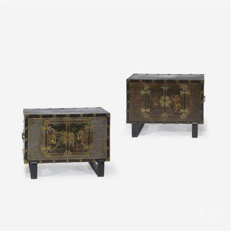 A pair of Korean mother of pearl-inlaid lacquered wood chests, 19th Century