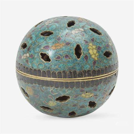 An unusual cloisonné gimbal-mechanism spherical incense burner, 19th Century or earlier