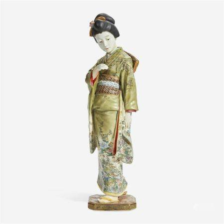A Japanese enameled pottery figure of a bijin, Kinkozan studios, late 19th/early 20th Century
