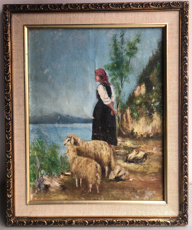 19TH CENTURY EUROPEAN UNSIGNED OIL PAINTING OF GIRL WITH SHEEP