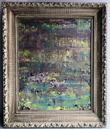 OIL PAINTING OF ABSTRACT SIGNED BY W. BARNES