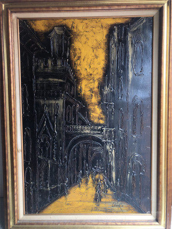 MEXICAN SCHOOL OIL PAINTING OF ABSTRACT SIGNED