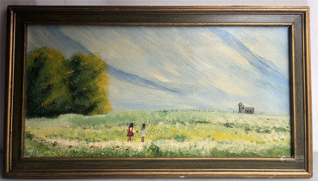 OIL PAINTING OF GIRL IN FIELD SIGNED MARNE