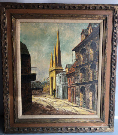 OIL PAINTING OF STREET VIEWS SIGNED ROMAIN