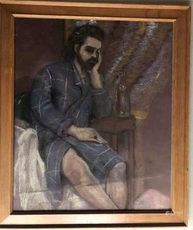 PASTEL PAINTING OF SEATED MAN BY GLORIA WALLACE