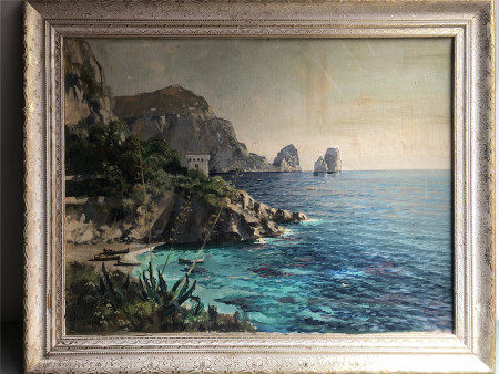 GUSTAVE LINO (1893-1961) OIL PAINTING ON BOARD OF SHORE VIEWS