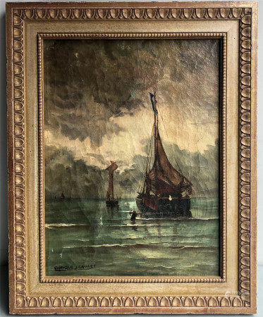 ENRIQUE CRUCET (1895-1970) OIL PAINTING ON CANVASE OF SAILING IN OCEAN