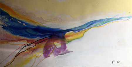 CHUANG CHE (1934-) OIL PAINTING OF ABSTRACT