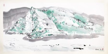 LARGE CHINESE SCROLL PAINTING OF MOUNTAIN VIEWS SIGNED BY WU GUANZHONG