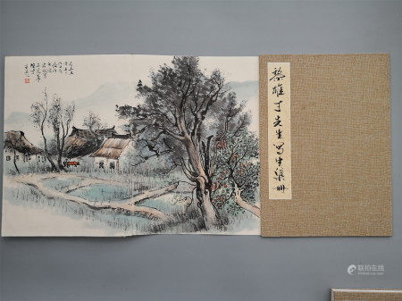 TWEELVE PAGES OF CHINESE ALBUM PAINTING OF LANDSCAPE SIGNED BY LI XIONGCAI