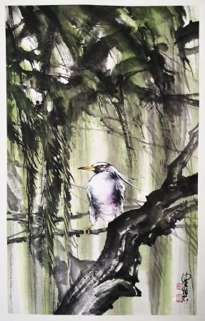 CHINESE SCROLL PAINTING OF BIRD ON TREE SIGNED BY CHEN PEIQIU