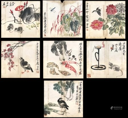 SEVEN PAGES OF CHINESE ALBUM PAINTING OF BIRD AND FLOWER SIGNED BY QI BAISHI