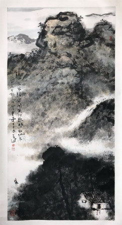 CHINESE SCROLL PAINTING OF MOUNTAIN VIEWS SIGNED BY YANG SHANSHEN