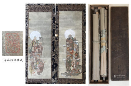 PREVIOUS COLLECTION OF QIAN JINGTANG PAIR OF CHINESE SCROLL PAINTING OF LOHAN SIGNED BY DING GUANPENG