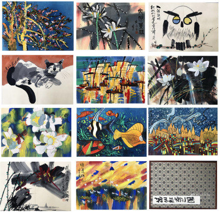 TWEELVE PAGES OF CHINESE ALBUM PAINTING OF BIRD AND FLOWER SIGNED BY HUANG YONGYU