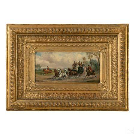 Equestrian Horse and Carriage Antique Oil Painting