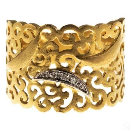 14K Gold Signed Designer Diamond Pierced Ring